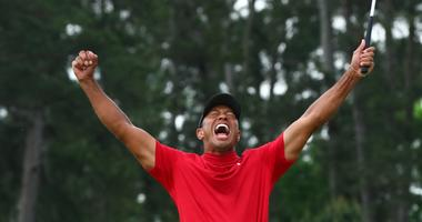 Tiger Woods celebrates after winning the Masters.