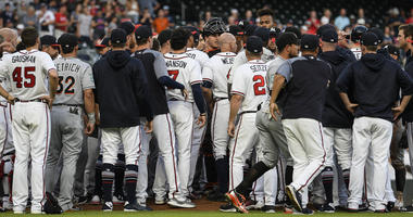 The Marlins and Braves clear the benches.