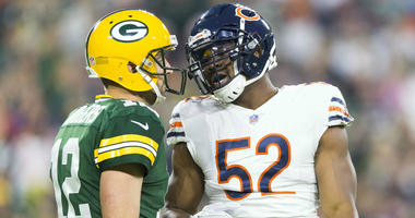 Bears linebacker Khalil Mack, right, and Packers quarterback Aaron Rodgers