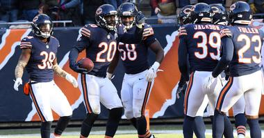 The Bears defense celebrates.