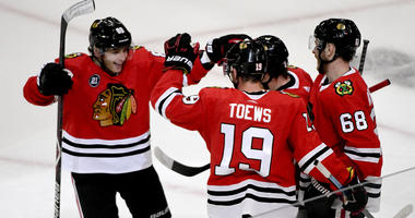 Patrick Kane (88) and the Blackhawks celebrate.