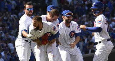 David Bote and the Cubs celebrate.
