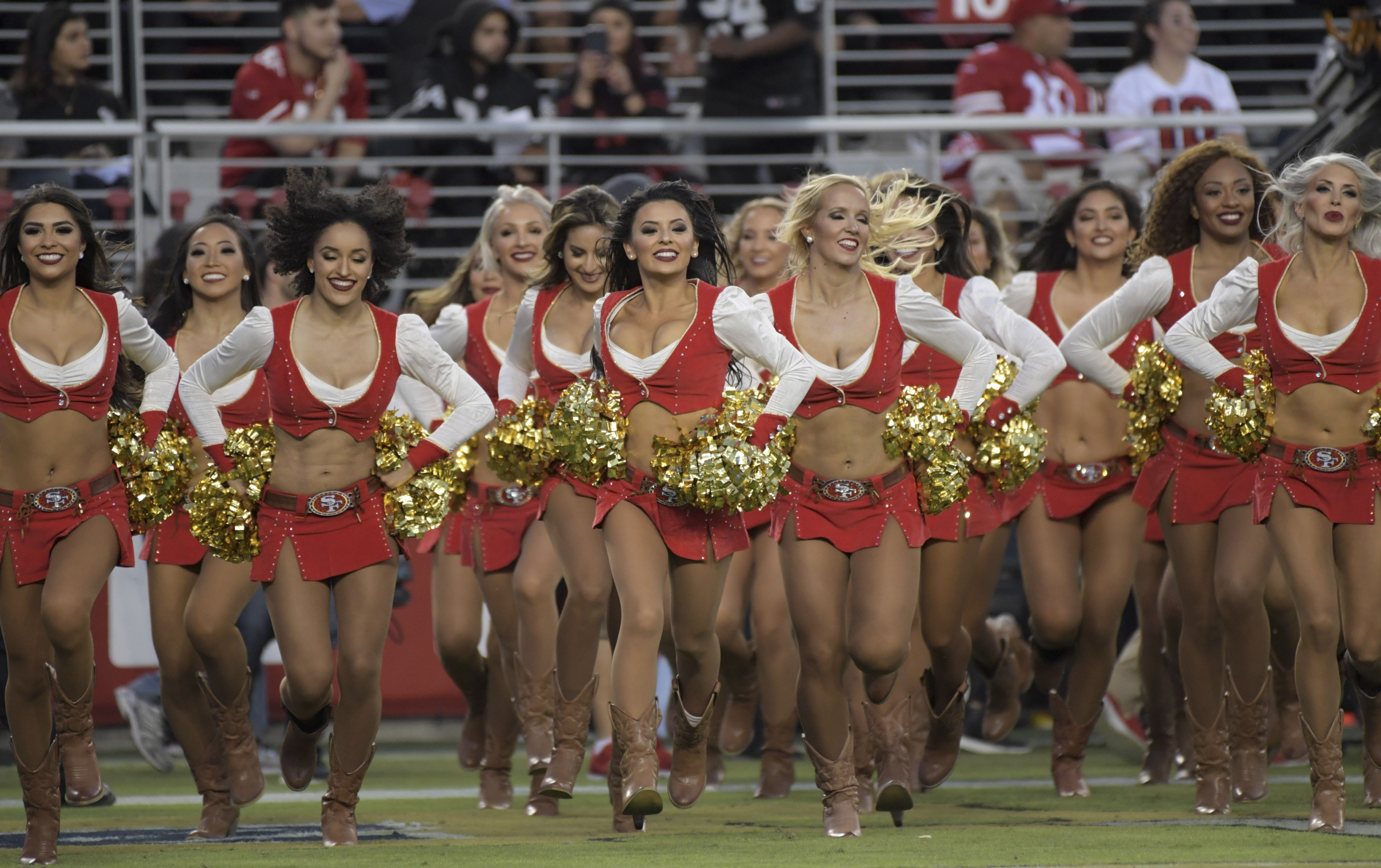 San Francisco 49ers  Cheerleader Takes A Knee During National Anthem   PHOTOS   db3deabcc
