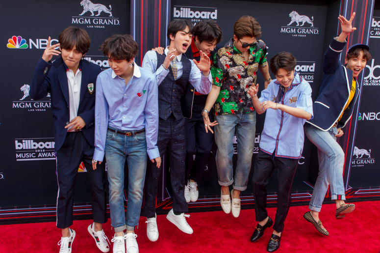 BTS walking on the red carpet at the 2018 Billboard Music Awards