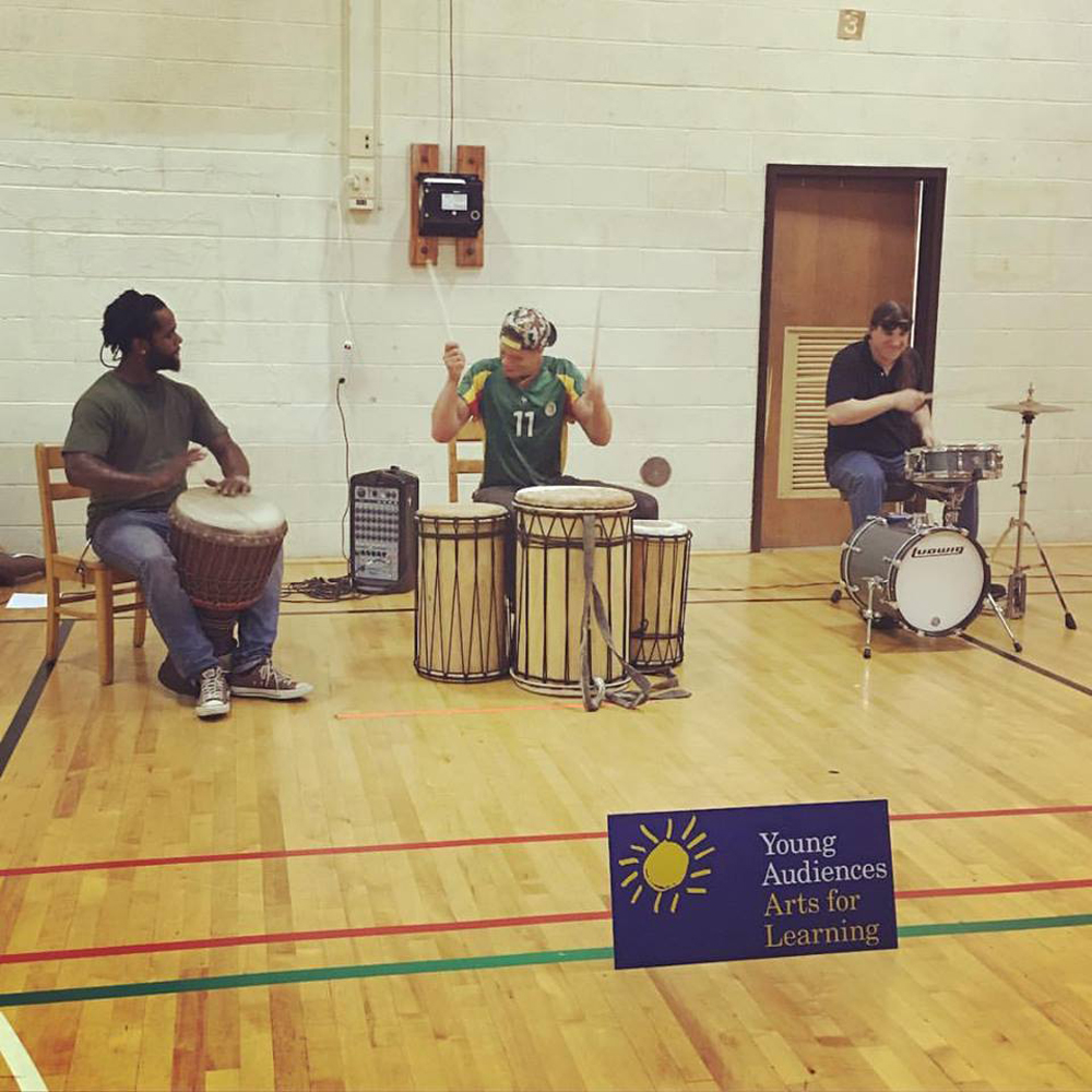 Sankofa and Steve Cyphers kick off the Summer Arts and Learning Academy at Fort Worthington Elementary School.
