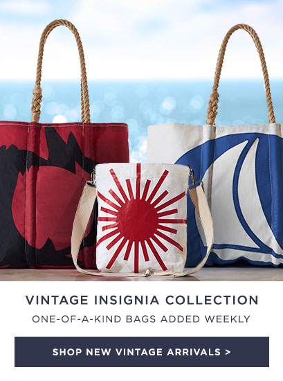 One-of-a-kind Vintage Insignia bags of all shapes - New bags added weekly!