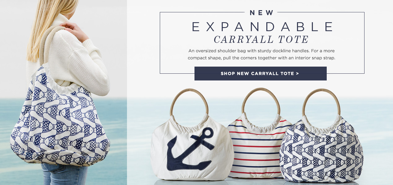 The New Expandable Carryall Tote - sturdy, dockline handles and an interior strap to create a handbag look.