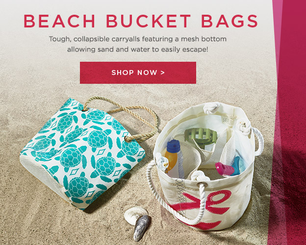 New Beachcomber Bucket Bags - allows sand and water to escape to escape