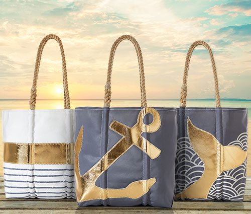 Metallic Leather Applique Totes and Wristlets