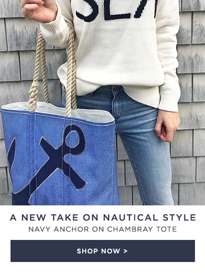 Navy Anchor on Chambray Tote - A New Take on Nautical Style