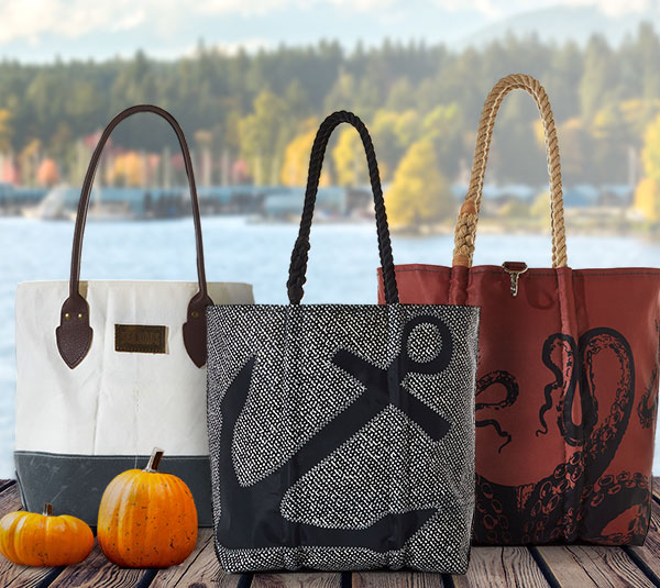 New Bags for Fall- Chebeague Travel Bags, Tanbark Octopus, Black Anchor on Barnacle Print Tote