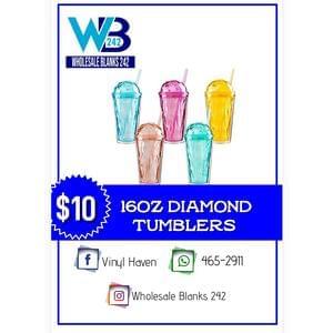 16oz Diamond Tumblers - $10