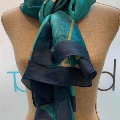 Silky Teal & Floral Scarf