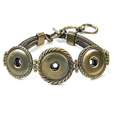 Ginger Snaps Antique Brass 3-Snap Multi Chain Bracelet