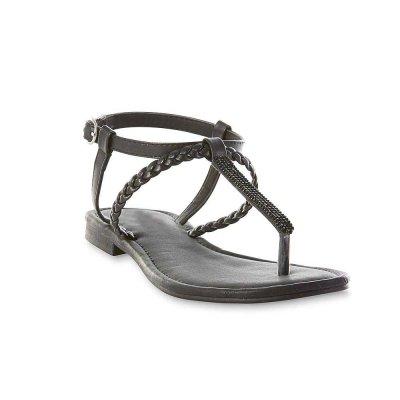 Crystal Thong Sandals - Black