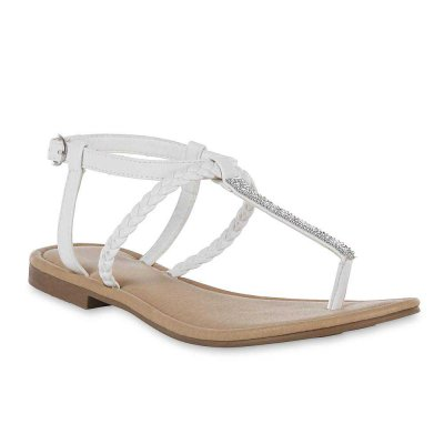 Crystal Thong Sandals - White