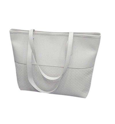 Braided Classic Tote Bag - White