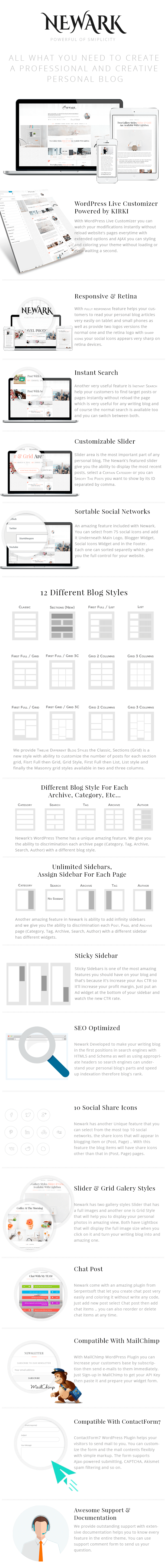 Newark Writing and Blogging WordPress Theme