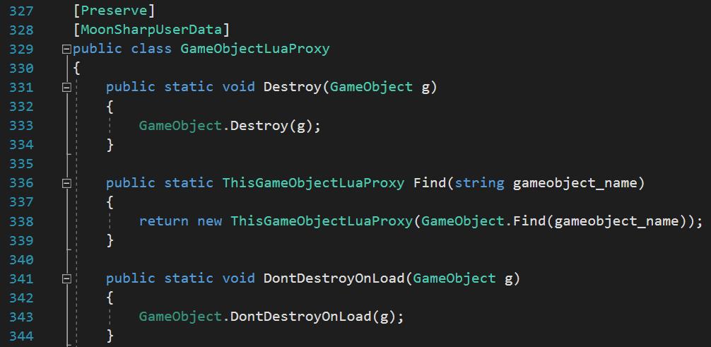 gameobject lua proxy c# code MoonSharpUserData attribute