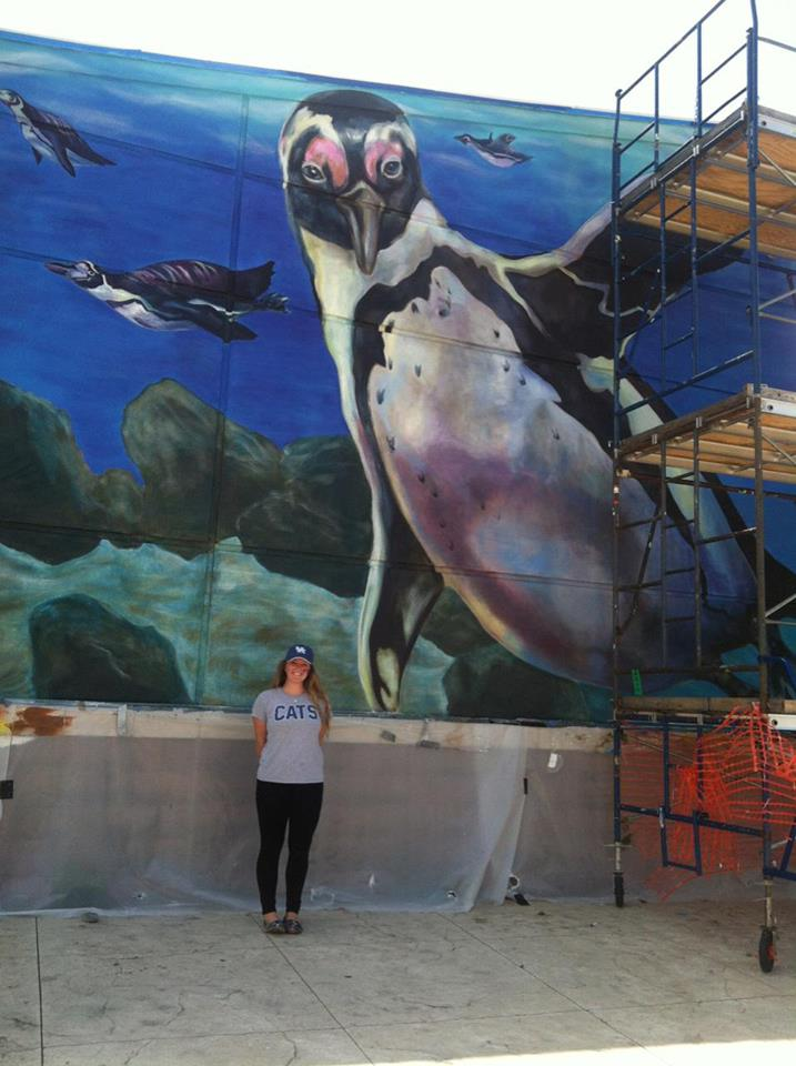 Artist Leaves Her Mark on Cincinnati_3 penguin mural @ Aquarium