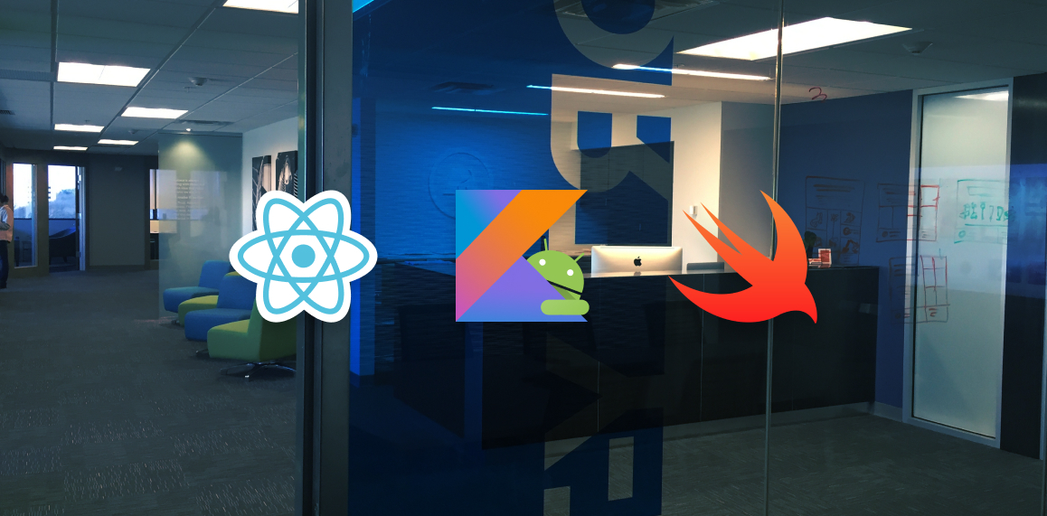 Image of office space overlaid with native development software logos.