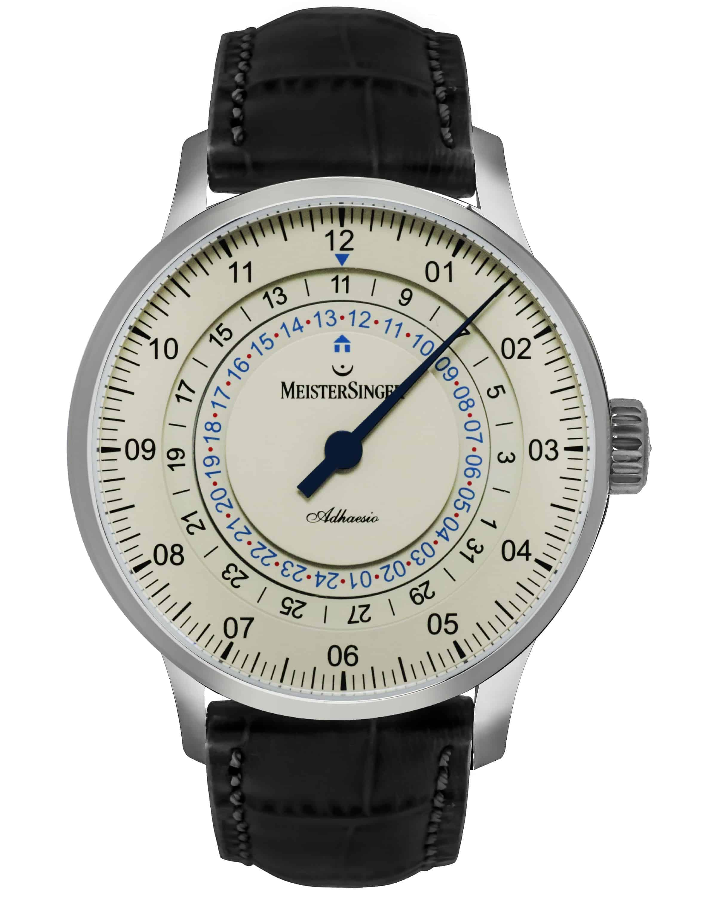 MeisterSinger Adhaesio Dual Time Black Strap Automatic Men's Watch AD903C