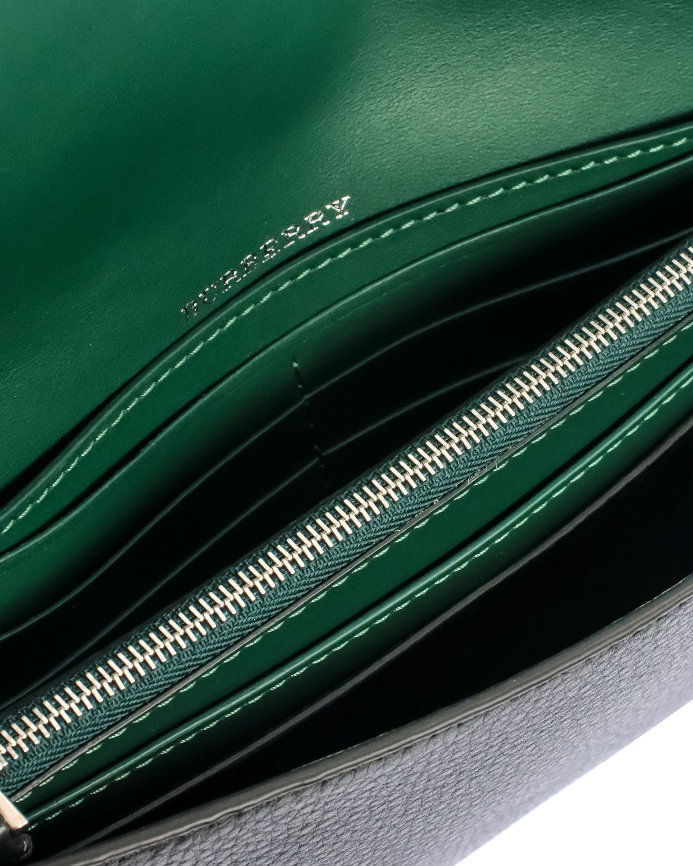 thumbnail 4 - Burberry Continental Black & Emerald Leather Clutch Wallet 4075093