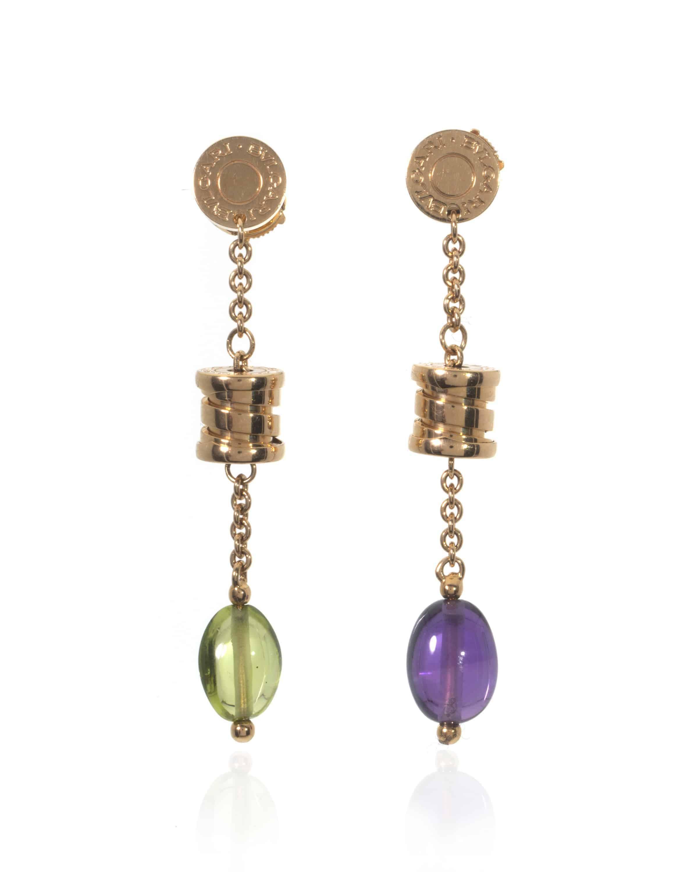Bvlgari B Zero 18k Yellow Gold Amethyst And Quartz Dangle Earrings 343191