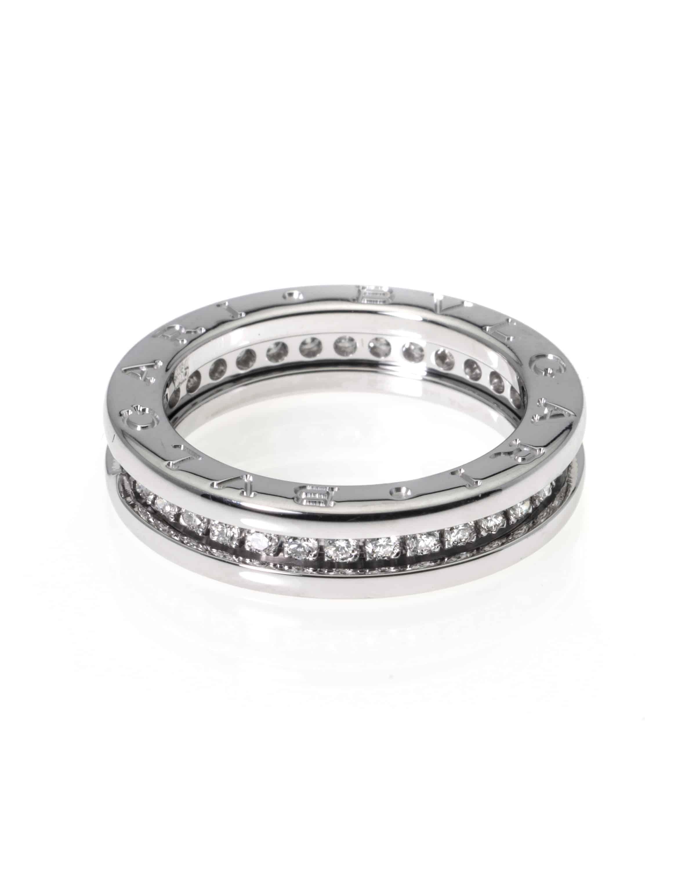 Bvlgari B Zero 18k White Gold Diamond Band Ring AN850656
