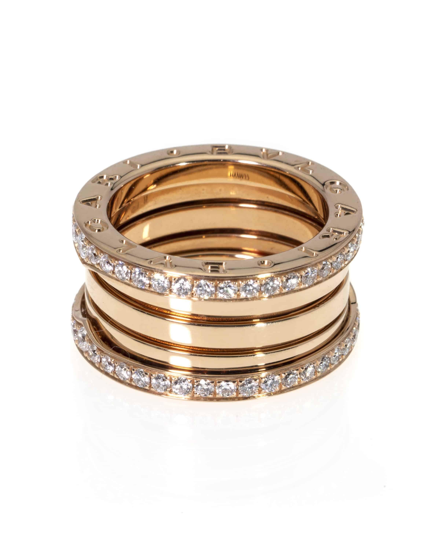 Bvlgari B Zero 18k Rose Gold Diamond Band Ring Size 6.5. AN856293