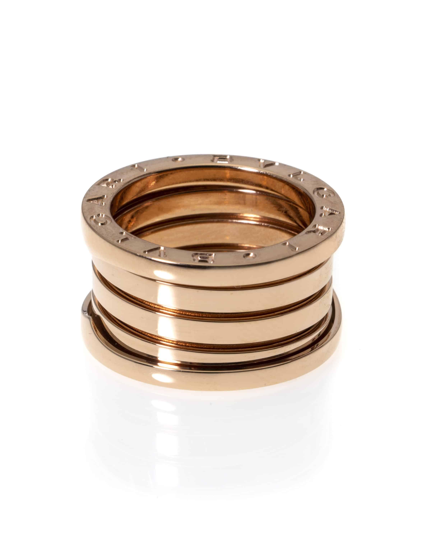 Bvlgari B Zero 18k Rose Gold Band Ring AN856732