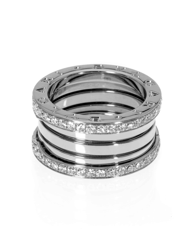 Bvlgari B Zero 18k White Gold Diamond Band Ring Size 6.75. AN857023