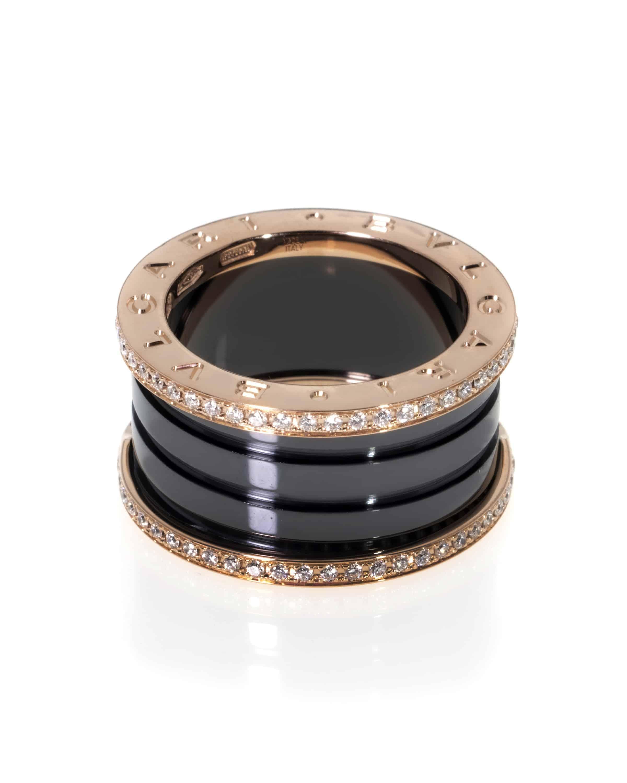Bvlgari B Zero 18k Rose Gold And Ceramic Diamond Band Ring Size 6.25. AN857029