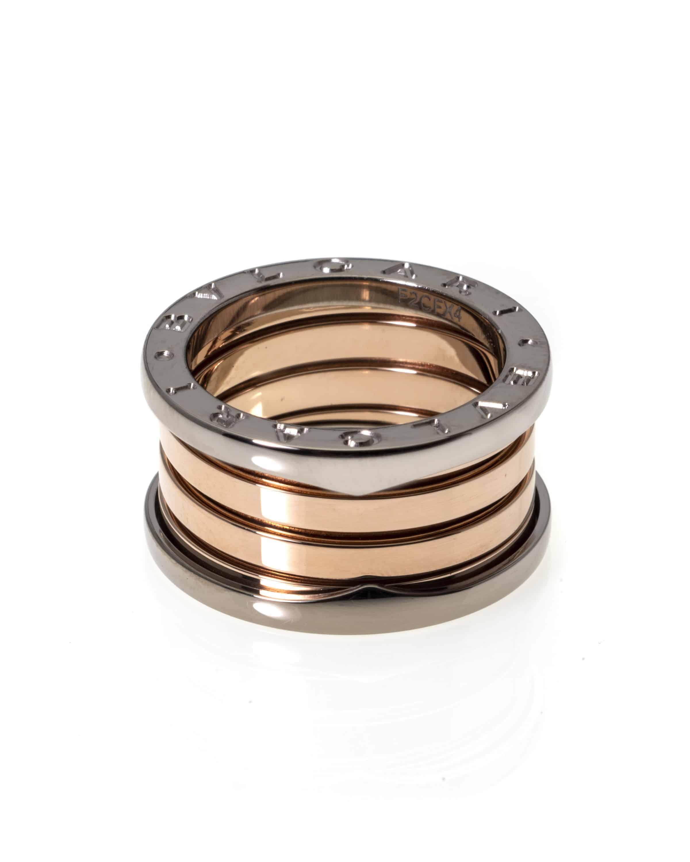 Bvlgari B Zero 18k White Gold And 18k Rose Gold Band Ring AN857651
