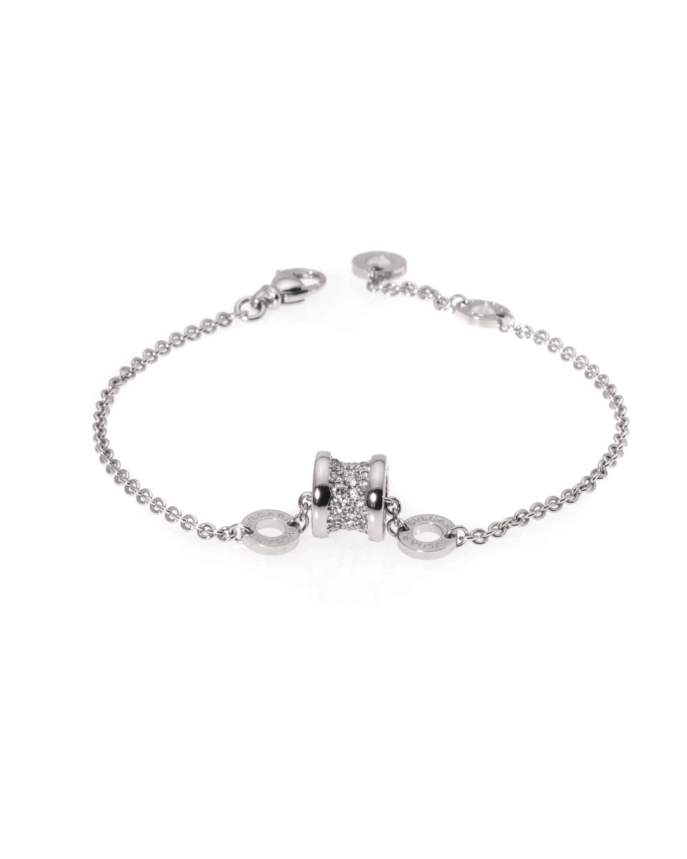 Bvlgari B Zero 18k White Gold Diamond Chain Bracelet BR857359