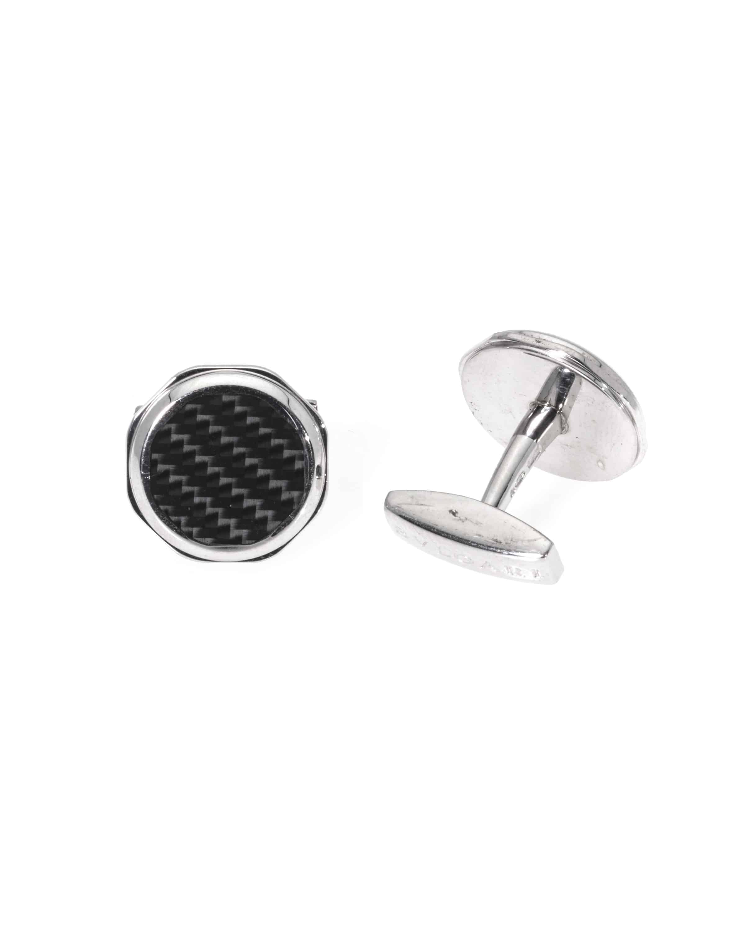 Bvlgari Octo Sterling Silver And Carbon Cufflinks GM856306