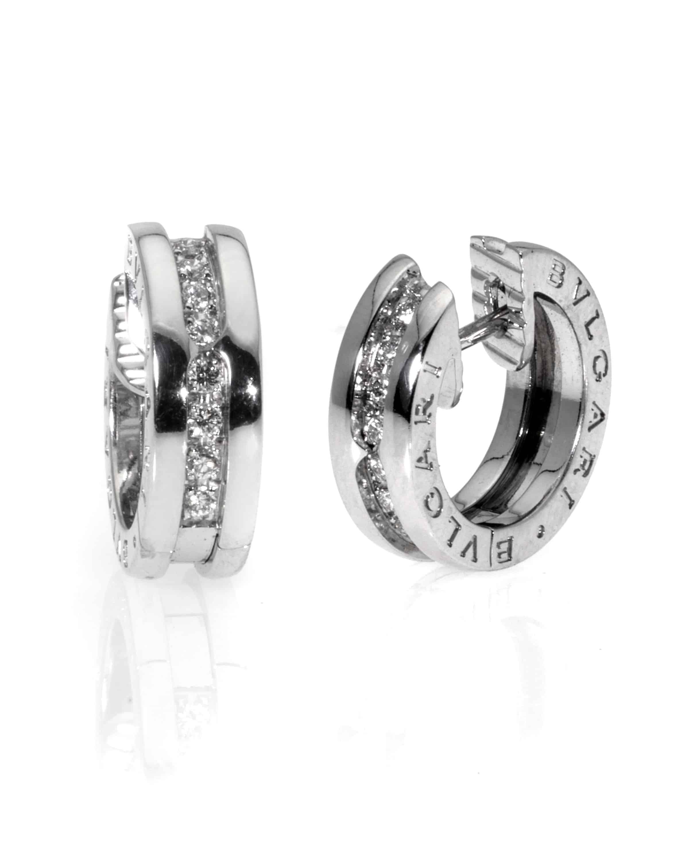 Bvlgari B Zero 18k White Gold Diamond Hoop Earrings OR855540