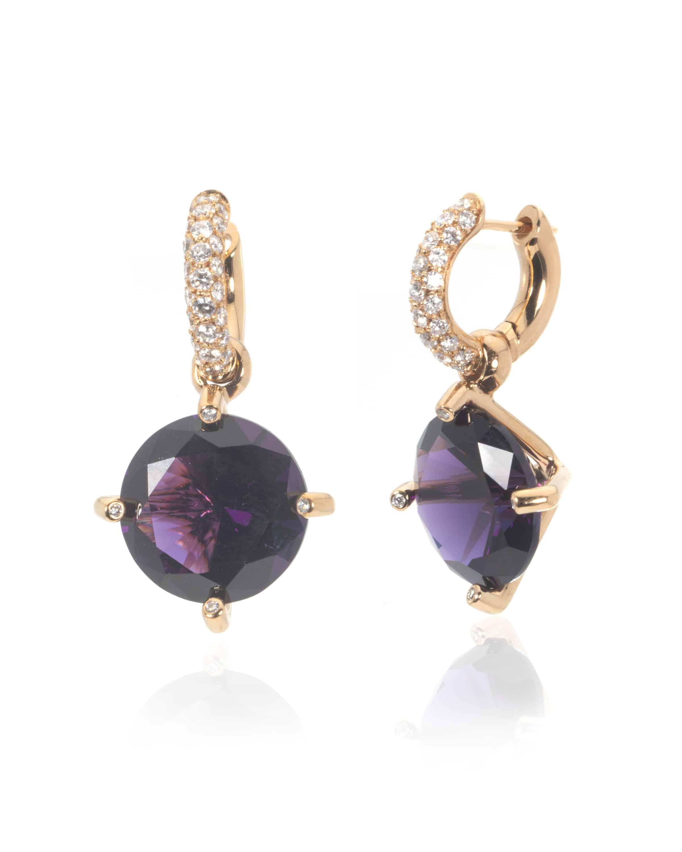 Crivelli 18k Rose Gold Diamond And Amethyst Earrings 035-E21330-72865367