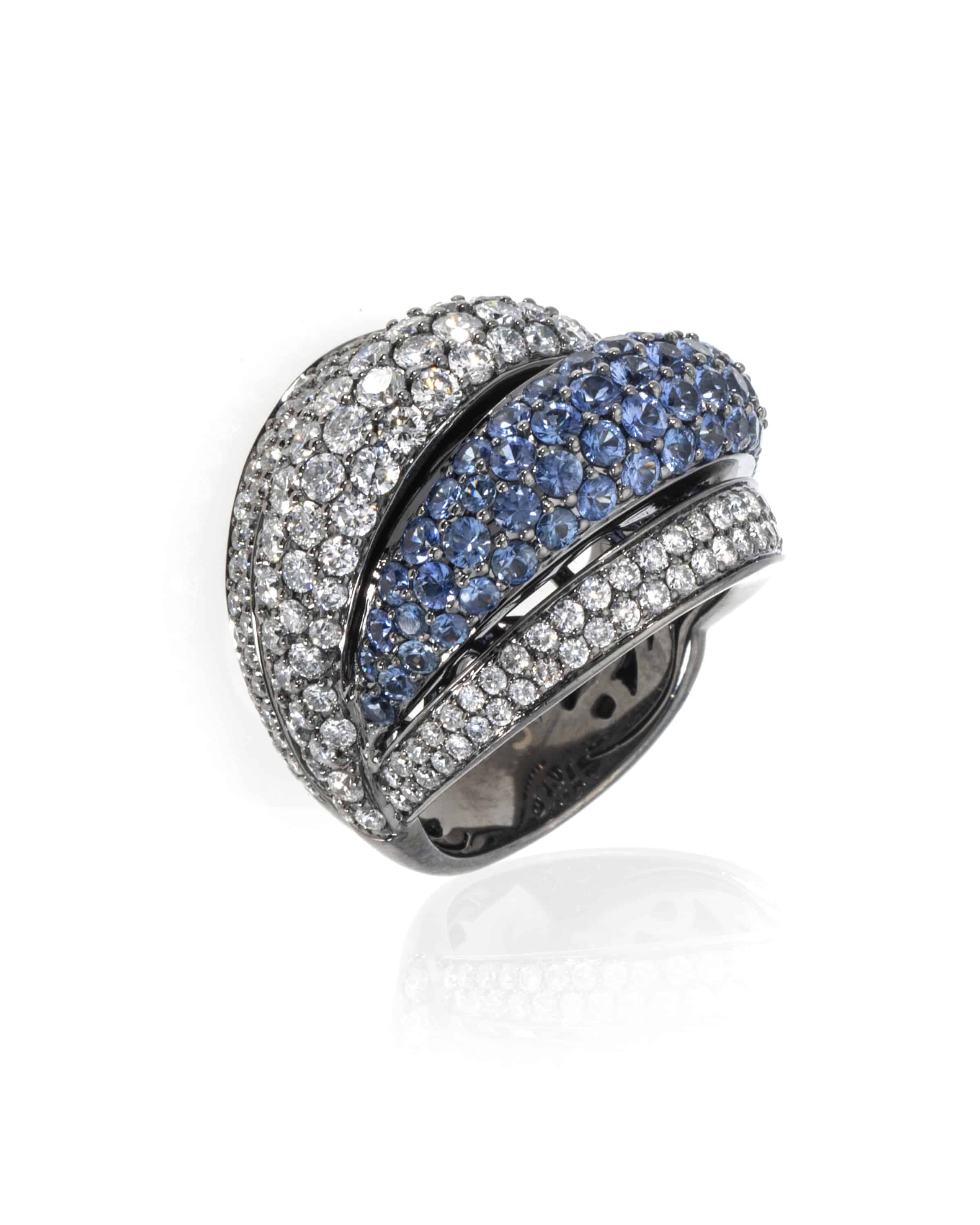 Crivelli 18k White Gold Diamond And Sapphire Ring Size 7. 035-R22009-28417605