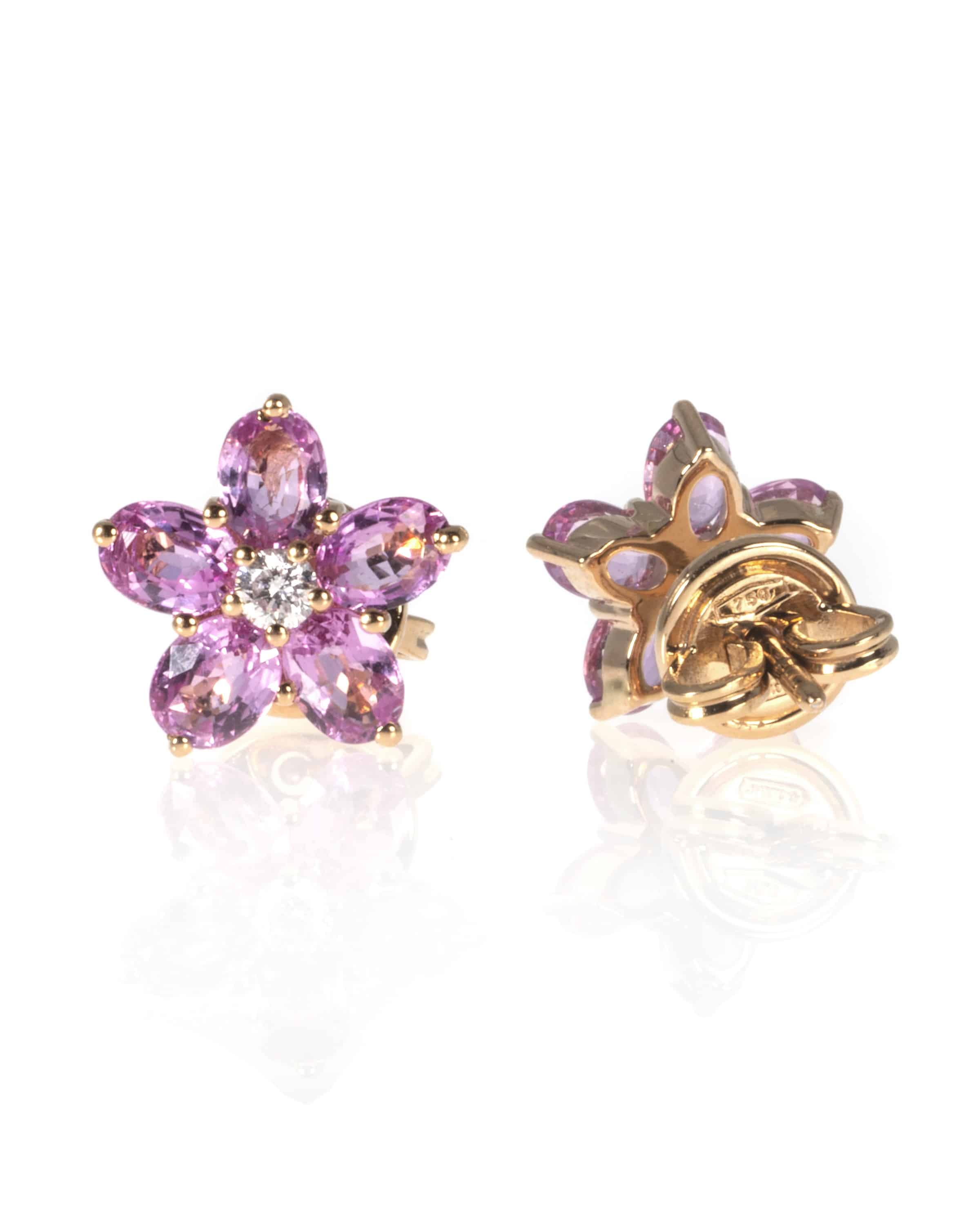 Crivelli 18k Rose Gold Diamond And Sapphire Earrings 117-ORFIORE-13163656