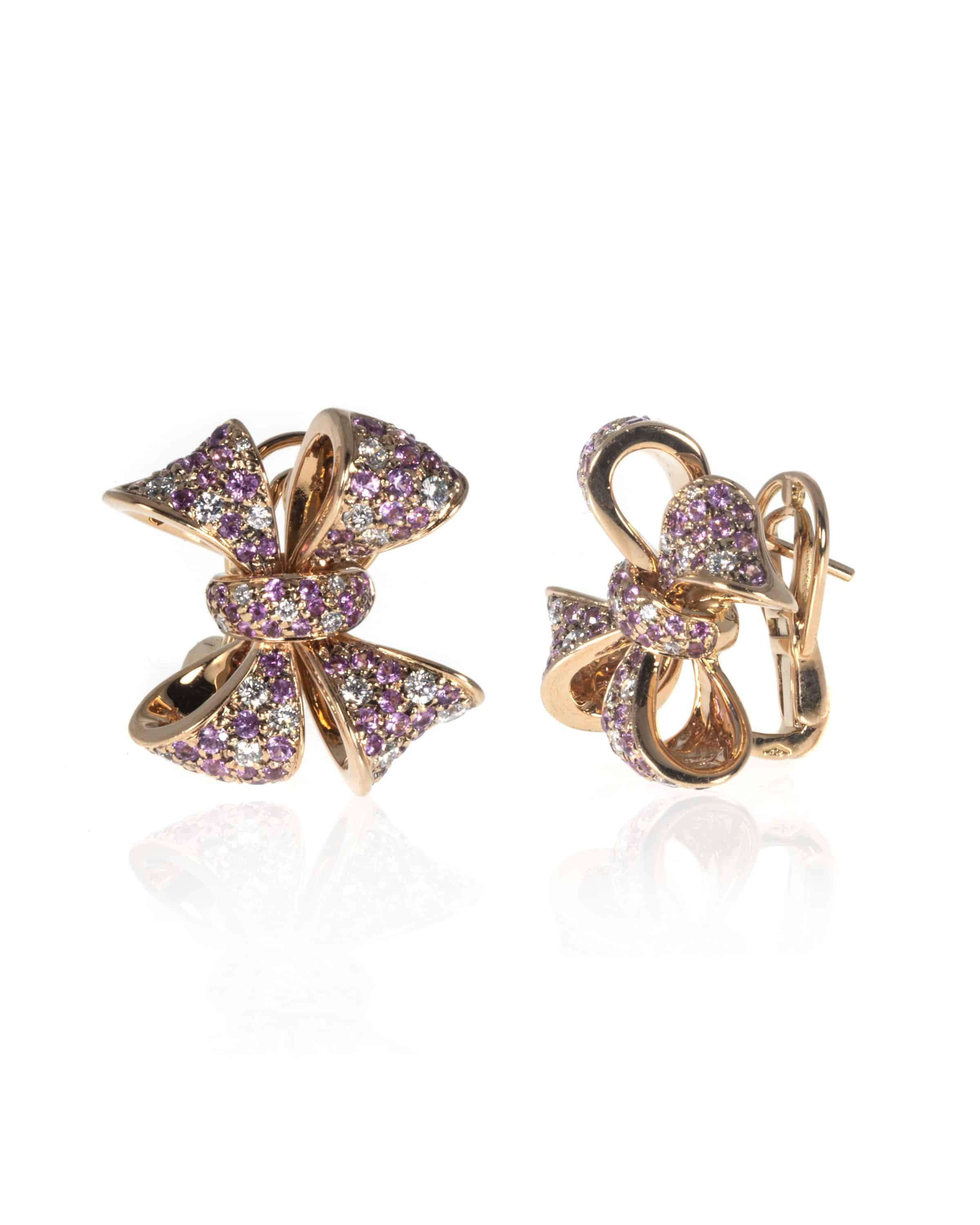 Crivelli 18k Rose Gold Diamond And Sapphire Earrings 274-CRB030-62319964