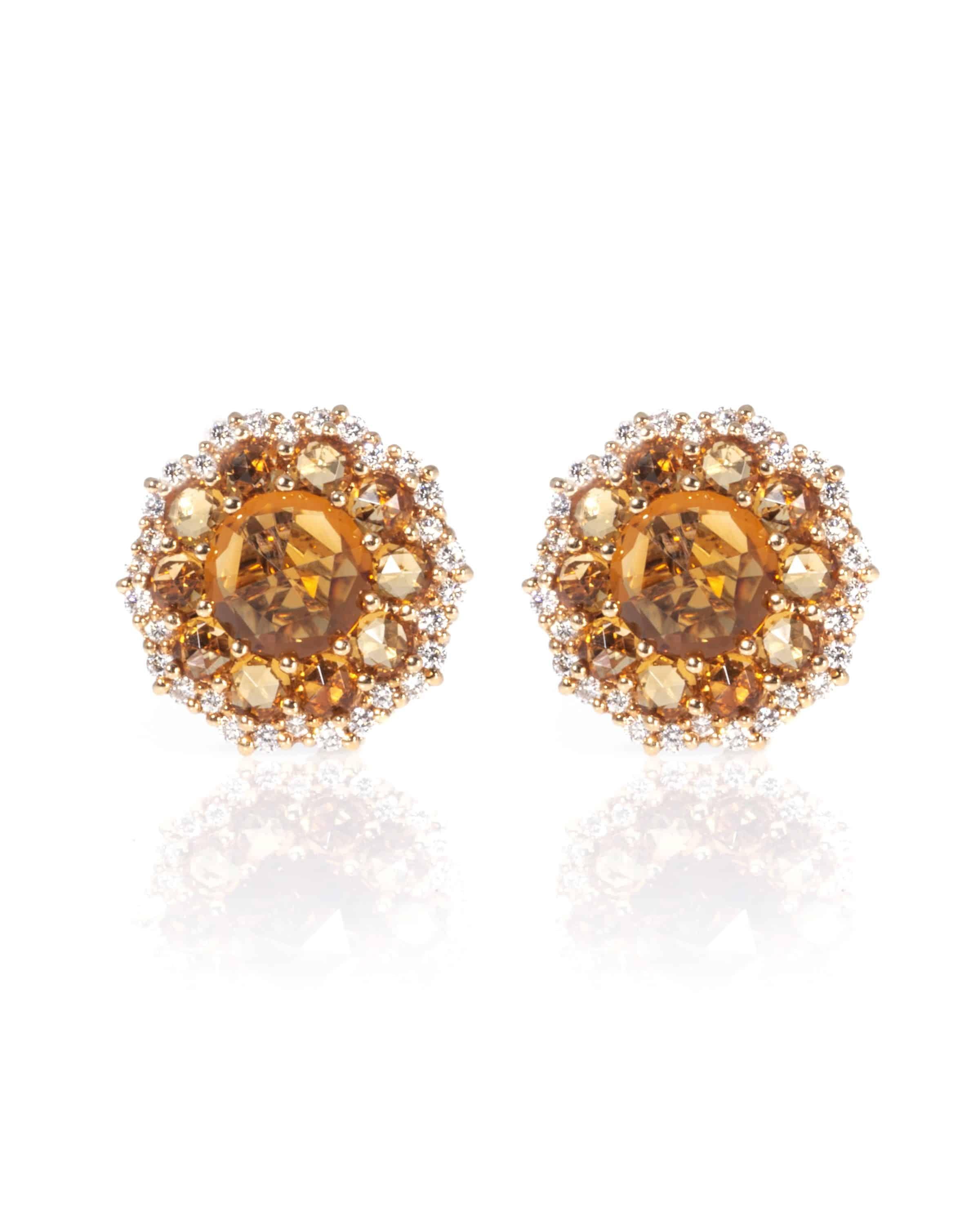 Crivelli 18k White Gold And 18k Rose Gold Diamond And Citrine Earrings 289-VE9599-99431407