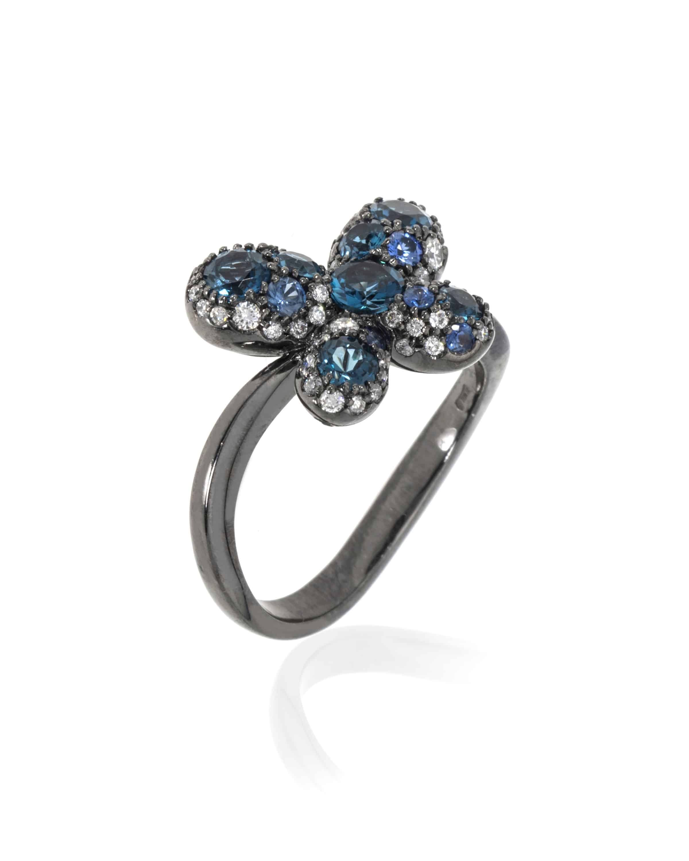 Crivelli 18k White Gold Diamond And Blue Topaz Ring Size 6.75. 289-VR22822-55229843