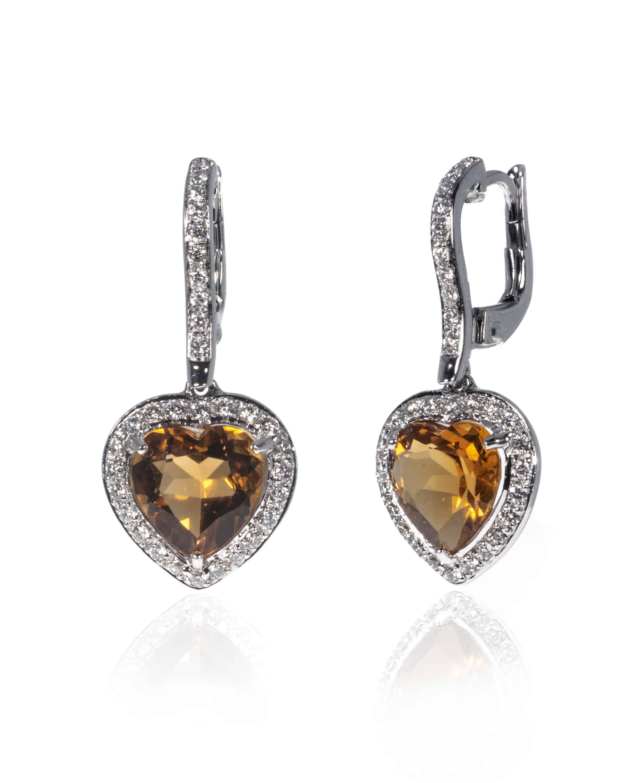 Crivelli 18k White Gold Diamond And Citrine Earrings 307-VE8842-51351410