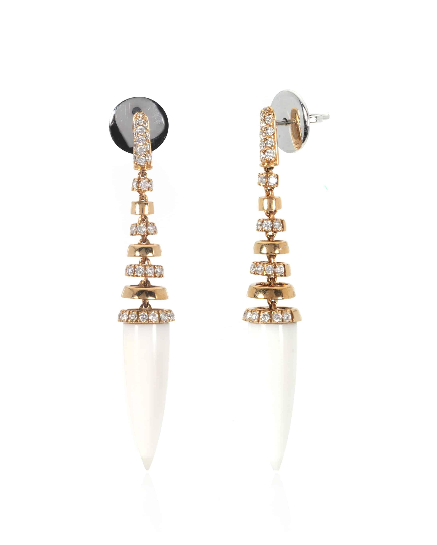 Crivelli 18k Rose & White Gold Diamond & Agate Earrings 307-VE9768-03712106