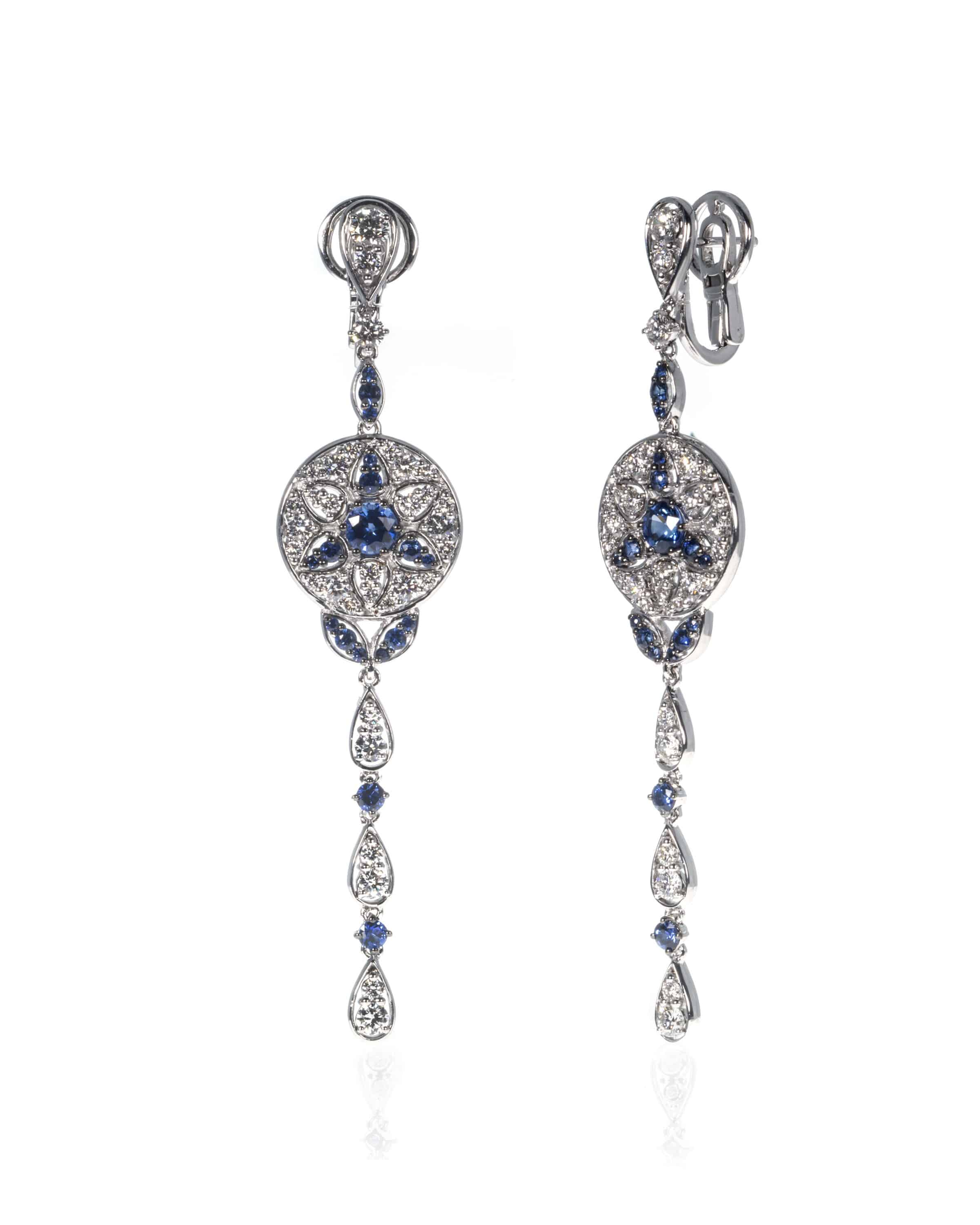 Crivelli 18k White Gold Diamond And Sapphire Earrings 372-2389-32520700