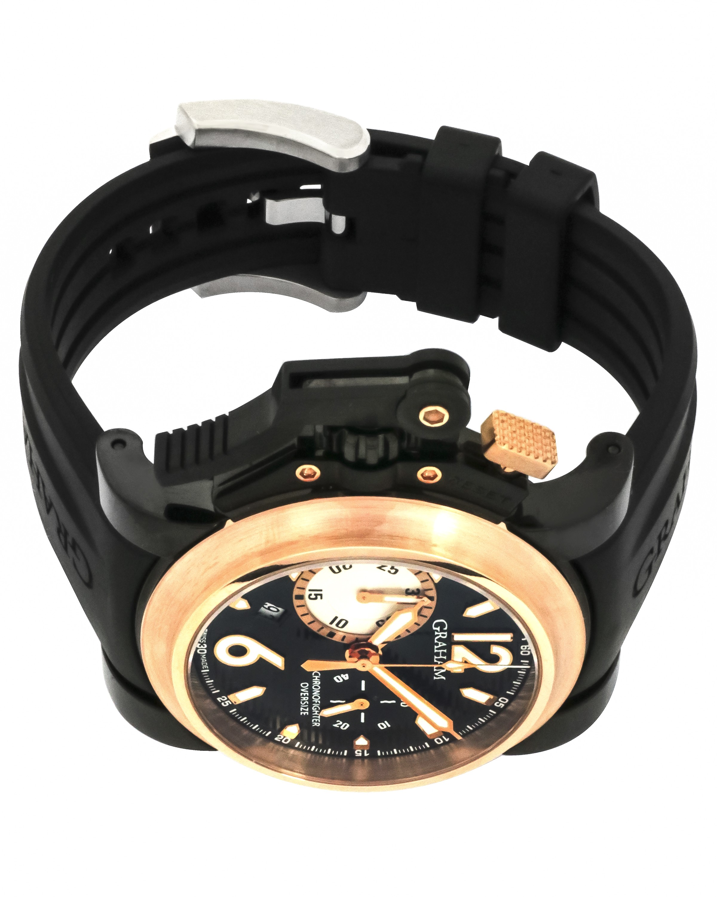 Graham 18k Gold And PVD Chronofighter Oversize Black Label LE Chronograph Men's Watch 2OVBZ.B10A