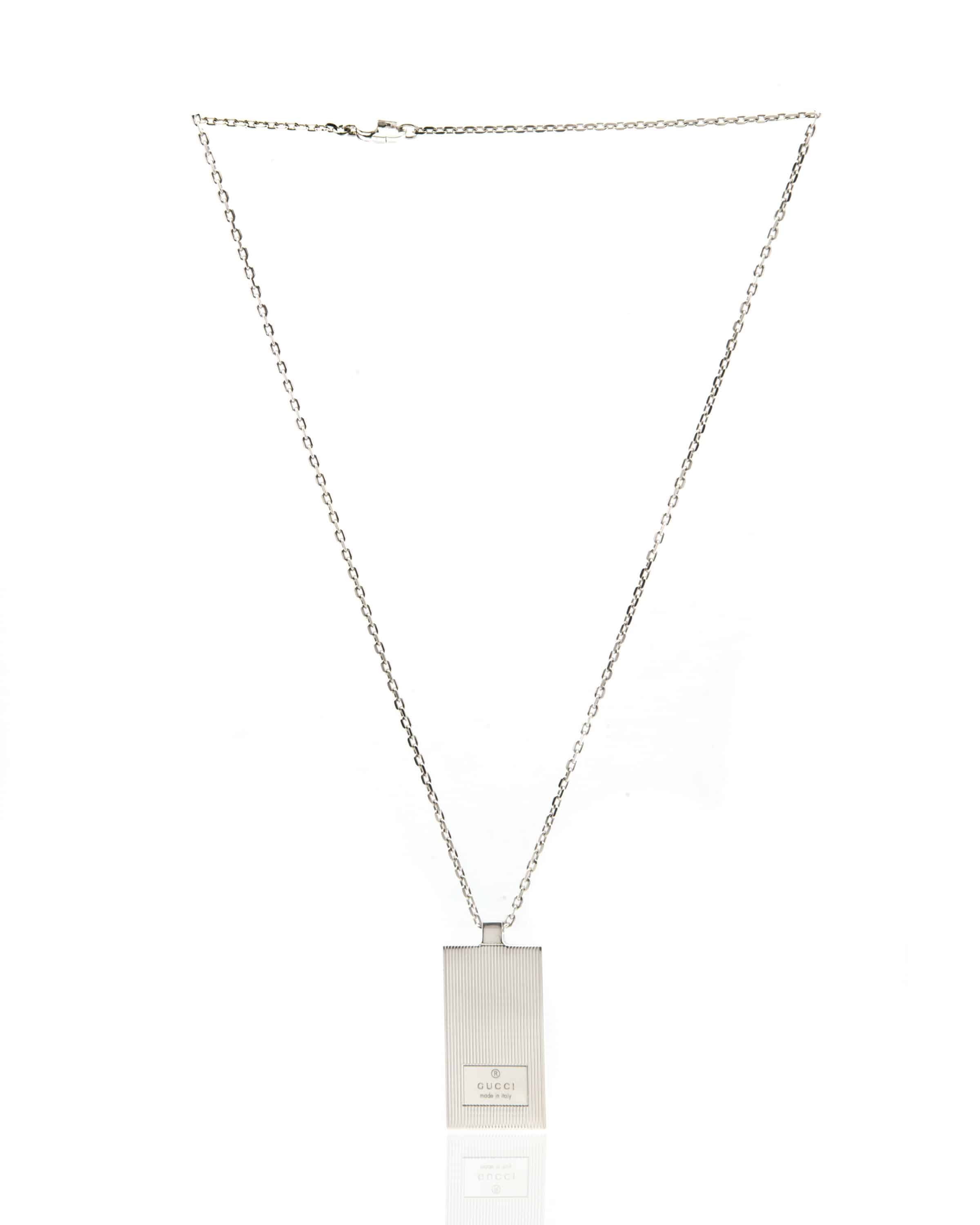 Gucci Mille Righe Sterling Silver Pendant Necklace 163074J8400810
