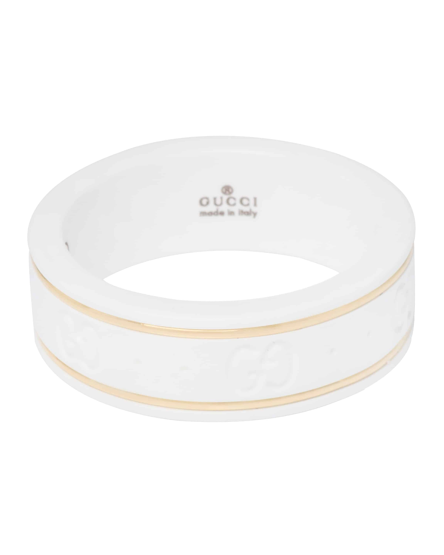 Gucci 18K Yellow Gold And Ceramic Icon Ring YBC3259640010 Sz 4.75