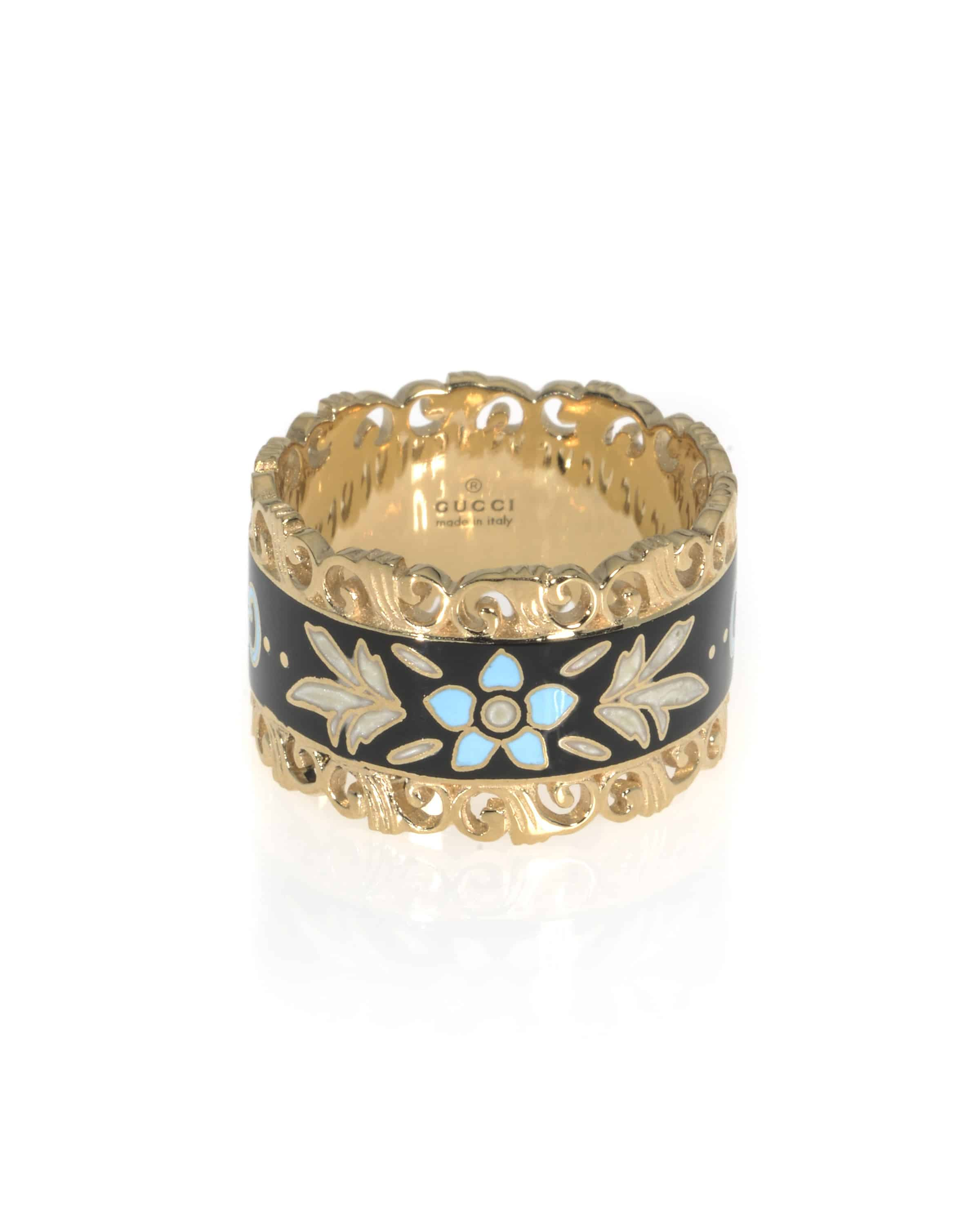 Gucci Icon 18k Yellow Gold And Enamel  Ring YBC479370001012 Size 6